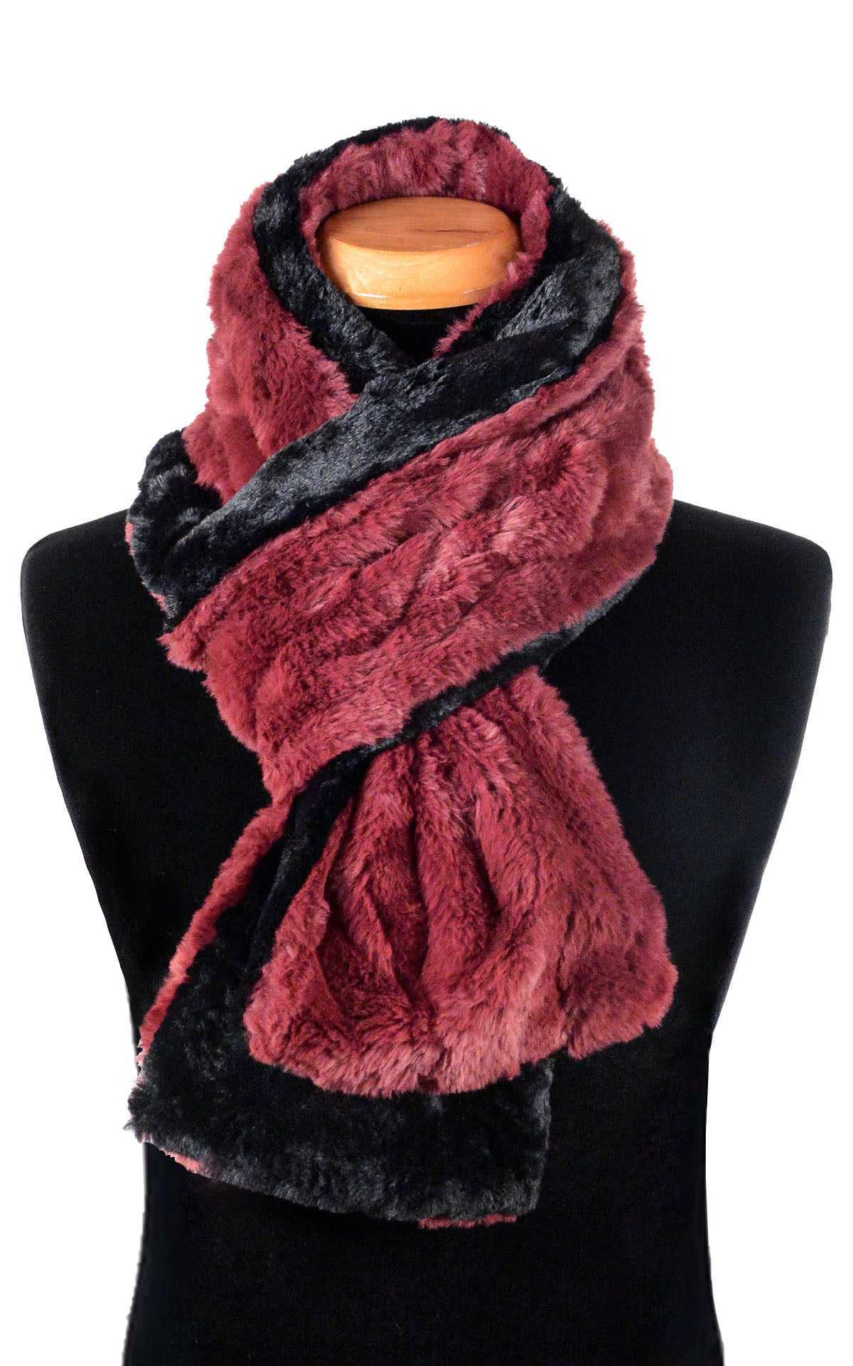 Men's Classic Scarf - Two-Tone, Luxury Faux Fur in Cranberry Creek (Standard Size Only - Limited Availability)