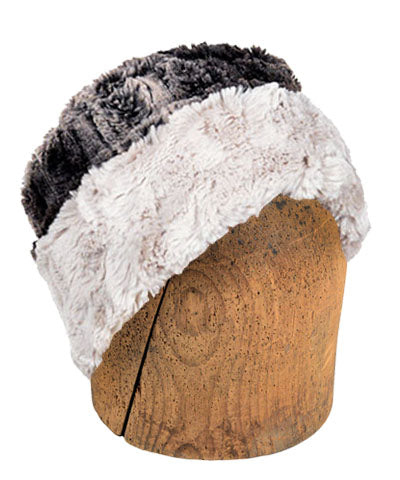 Men's Cuffed Pillbox, Reversible (Solid or Two-Tone) - Luxury Faux Fur in Chinchilla Brown