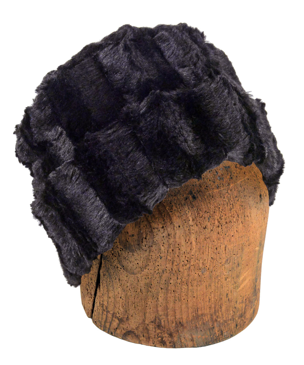 Men's Cuffed Pillbox, Reversible (Solid or Two-Tone) - Minky Faux Fur in Black