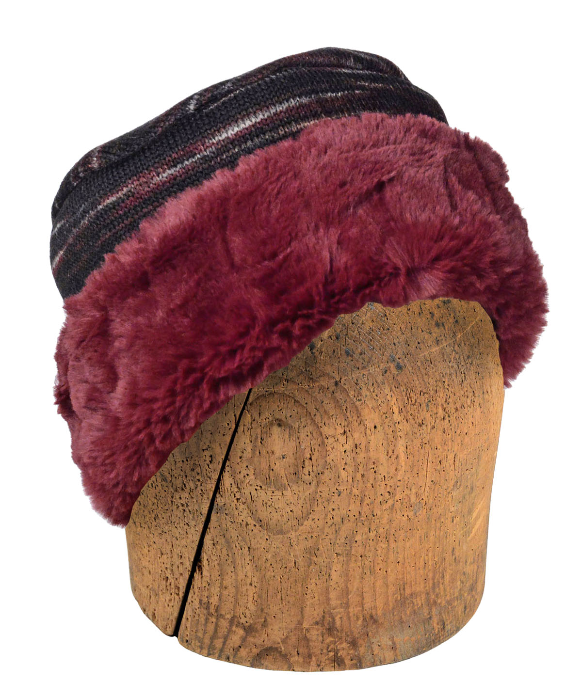 Men's Cuffed Pillbox, Reversible (Two-Tone) - Sweet Stripes in Cherry Cordial with Assorted Faux Fur