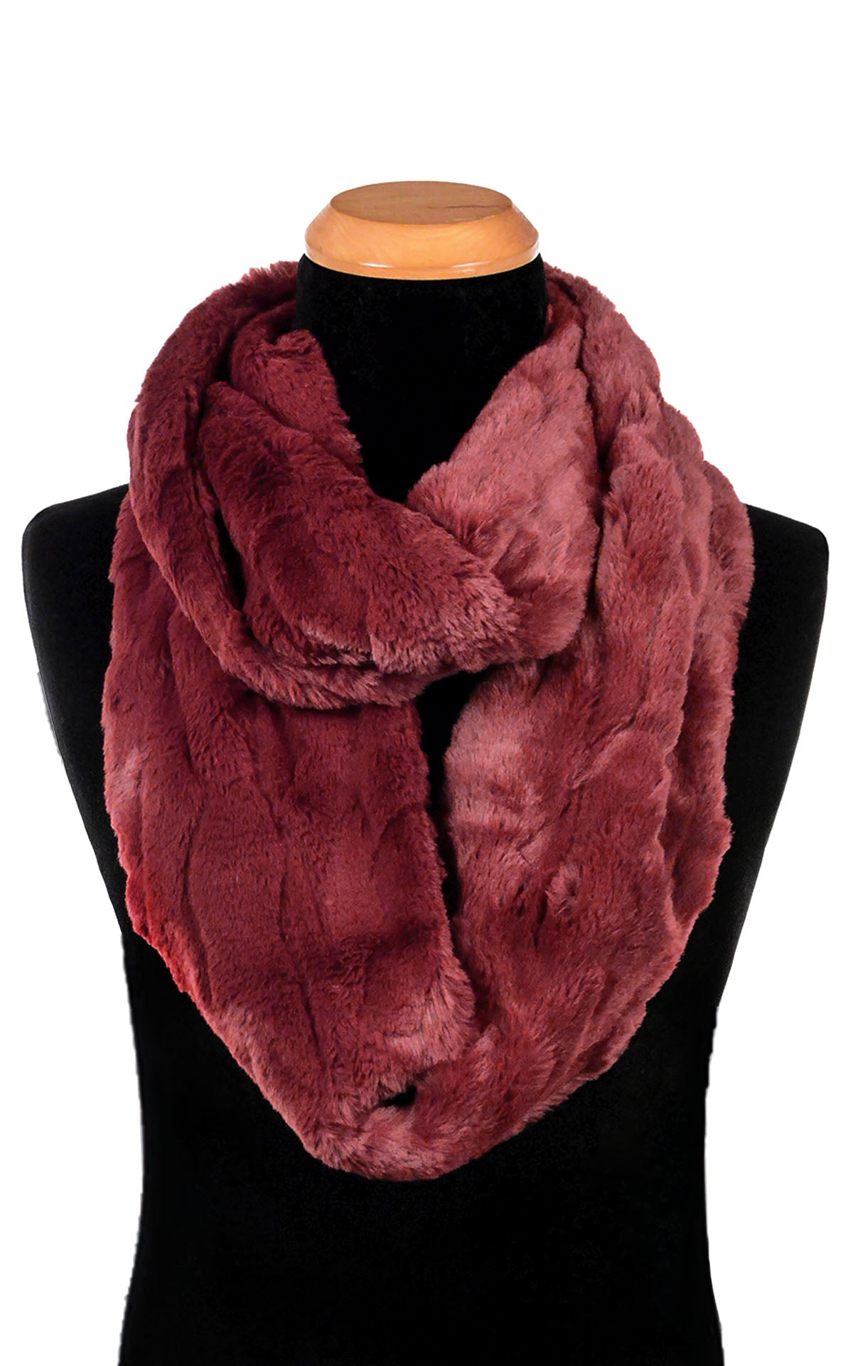 Men's Infinity Scarf - Luxury Faux Fur In Cranberry Creek (Limited Availability)