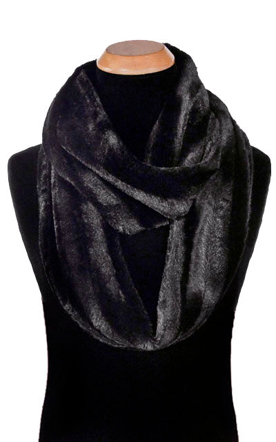 Men's Infinity Scarf - Minky Faux Fur in Black