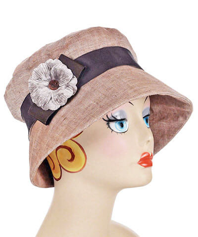 Small Velvet Flower Brooch in Taupe on Linen Molly Bucket Hat | Pandemonium Millinery