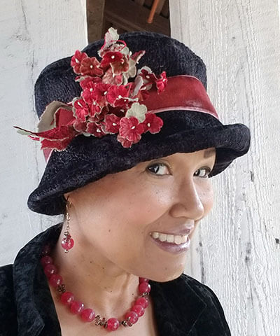 Flower Brooch Small Velvet Cluster in Red on Black Hat | Pandemonium Millinery