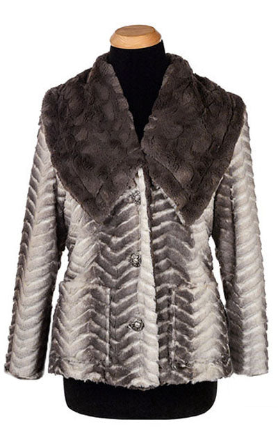 Norma Jean Coat, Reversible - Luxury Faux Fur in Matterhorn with Cuddly Fur in Gray (One Medium Left!)