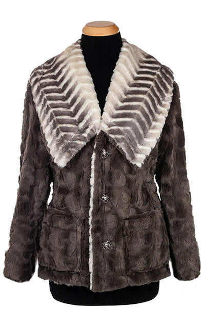 Norma Jean Coat, Reversible - Matterhorn Faux Fur with Cuddly Fur in Gray -  - Outerwear - Pandemonium Millinery