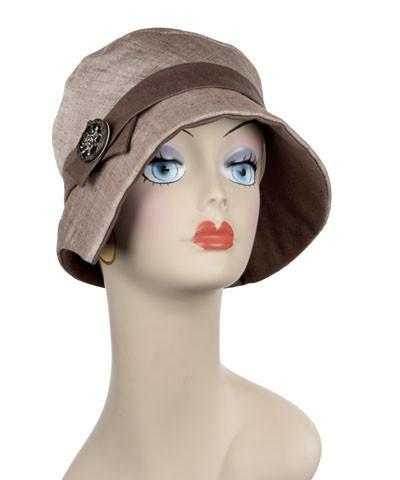 Abigail Hat Style  - Linen in Coral with Chocolate