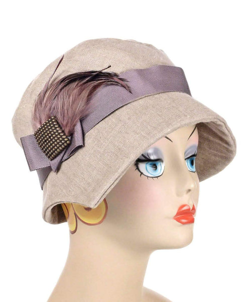 Pandemonium Millinery Abigail Hat Style  - Linen in Natural (Three Bronze Buttons Left for Season!) Medium / Grosgrain Band - Mauve / Feather Trim / Bronze Square Button Hats