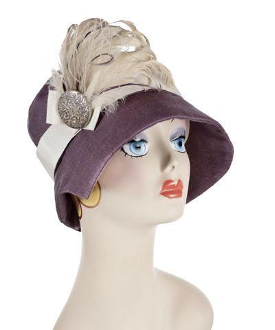 Abigail Hat Style  - Linen in Plum Medium / Grosgrain Band - Cream / Feather Trim - Plum & Cream / Button - Lilac Hats Pandemonium Millinery