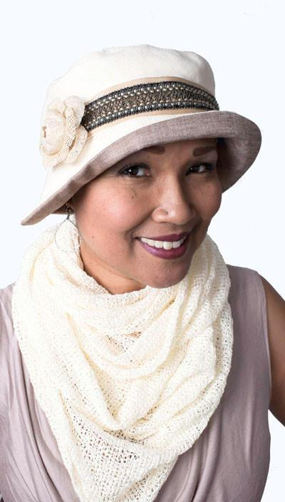 Abigail Hat Style  - Linen in Seashell with Coral