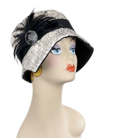 Abigail Hat Style  - Luna in White with Black Linen
