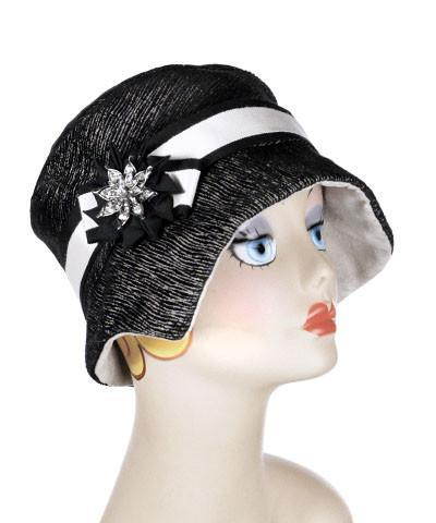 Abigail Style Hat - Bongo in Black/Beige Upholstery with Silver Faux Suede Medium / Grosgrain Band - Assorted / Brooch - Assorted Hats Pandemonium Millinery
