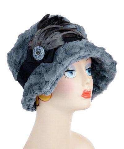 Abigail Style Hat - Cuddly Faux Fur in Slate Medium / Grosgrain Band - Black / Feather - Natural & Steel / Button - Cameron Blue Hats Pandemonium Millinery