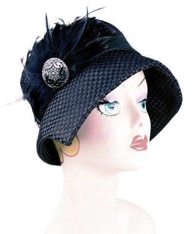 Abigail Style Hat - Interconnected in Black Upholstery Medium / Grosgrain Band - Black / Band/Brooch - Black Hats Pandemonium Millinery