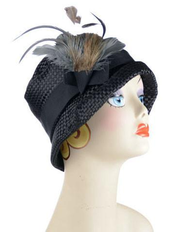 Abigail Style Hat - Interconnected in Black Upholstery Medium / Grosgrain Band - Black / Feather Trim - Steel & Pheasant Hats Pandemonium Millinery