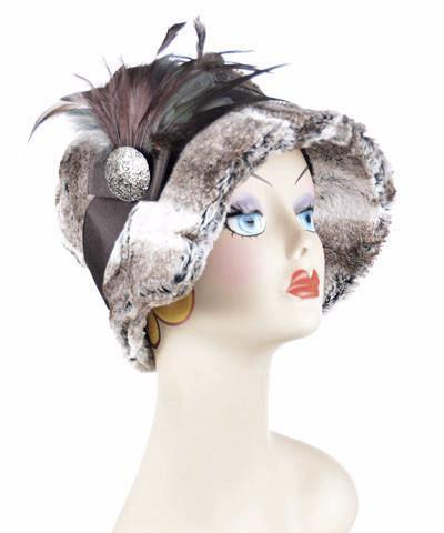 Abigail Style Hat - Luxury Faux Fur in Birch Medium / Grosgrain Band - Chocolate / Feather - Rooster & Pheasant  / Button - Brown Hats Pandemonium Millinery