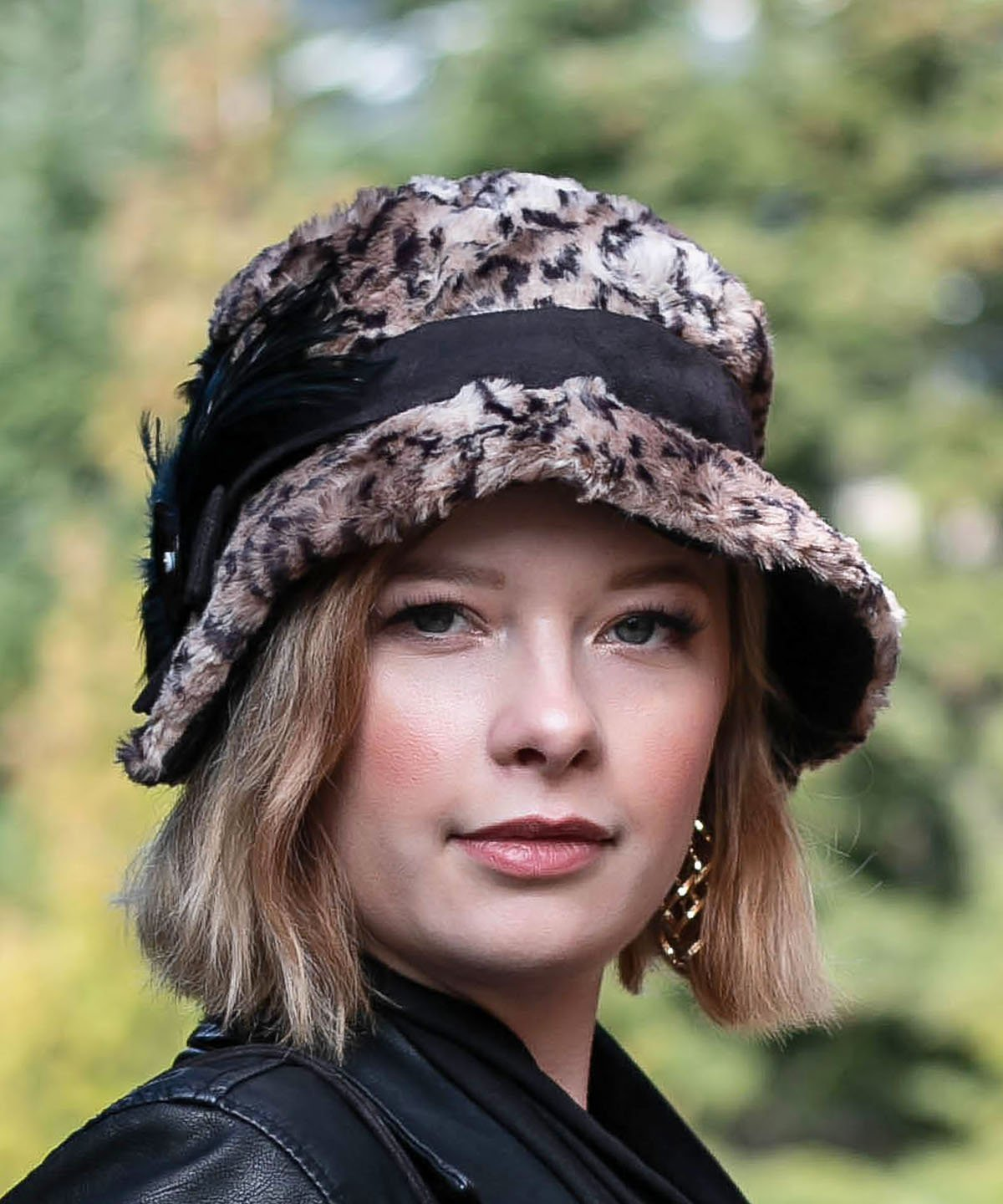 Abigail Style Hat - Luxury Faux Fur in Carpathian Lynx with Black Faux Suede Medium / Faux Suede Cross-Over Band - Black / Feather - Black Fan / Button - Black & Gold Capiz Shell Hats Pandemonium Millinery