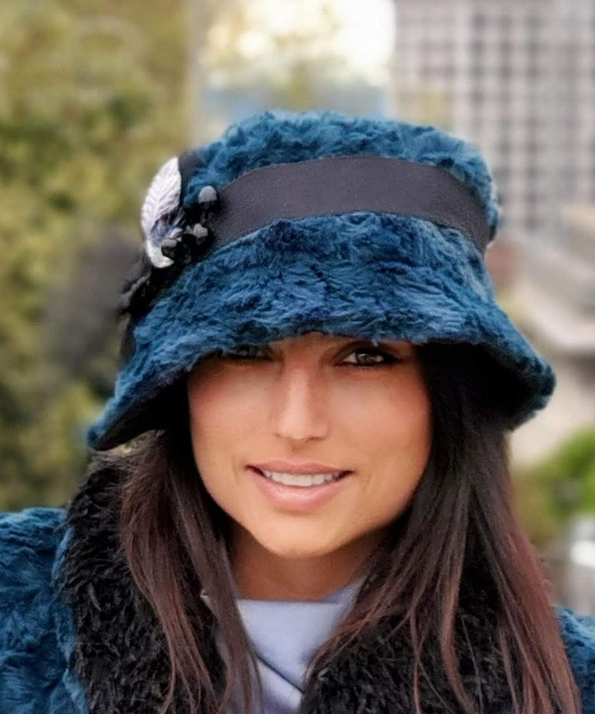 Abigail Style Hat - Luxury Faux Fur in Peacock Pond with Black Faux Suede