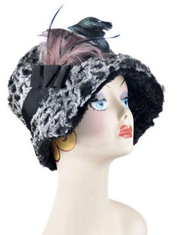 Abigail Style Hat - Luxury Faux Fur in Snow Owl with Cuddly Fur in Black Medium / Grosgrain Band - Black / Feather Brooch - Mauve Hats Pandemonium Millinery