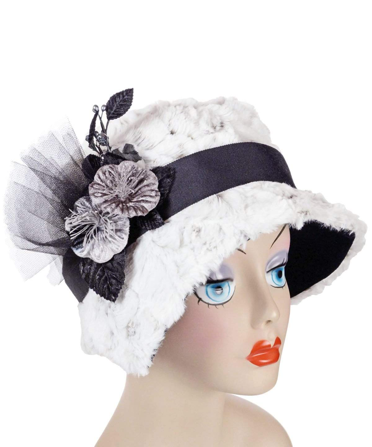 Abigail Style Hat - Luxury Faux Fur in Winters Frost with Black Faux Suede