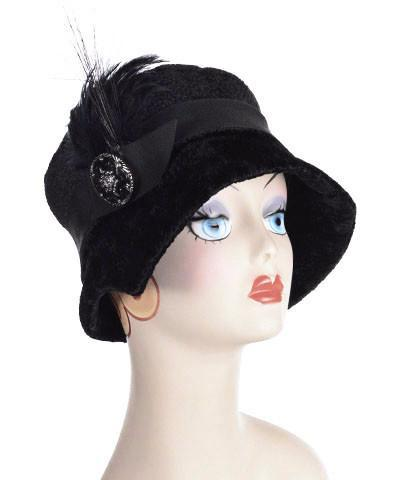 Abigail Style Hat - Pebbles in Black Upholstery Medium / Grosgrain Band - Black / Feather - Black / Button - Black & Silver Hats Pandemonium Millinery