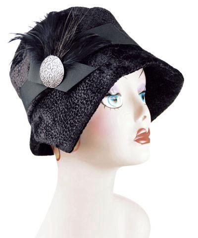 Abigail Style Hat - Pebbles in Black Upholstery Medium / Grosgrain Band - Black / Feather - Black / Button - Silver Embossed Metal Hats Pandemonium Millinery
