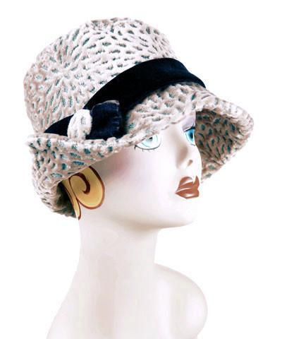 Abigail Style Hat - Rossini Upholstery Medium / Velvet Band - Chocolate / Button - Matching Faux Fur Hats Pandemonium Millinery