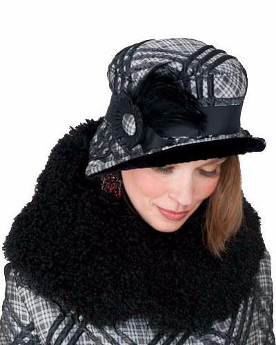 Abigail Style Hat - Silver Plaid Upholstery with Black Velvet Medium / Grosgrain Band - Black, Button and Feather Hats Pandemonium Millinery