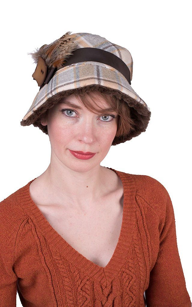 Abigail Style Hat - Wool Plaid in Daybreak with Cuddly Chocolate Faux Fur Medium / Grosgrain Band - Chocolate & Beige / Feather Brooch - Rooster & Pheasant / Square Button - Brown Hats Pandemonium Millinery