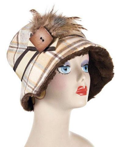 Abigail Style Hat - Wool Plaid in Daybreak with Cuddly Chocolate Faux Fur Medium / Hat Only Hats Pandemonium Millinery