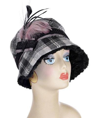 Abigail Style Hat - Wool Plaid in Twilight with Cuddly Black Faux Fur
