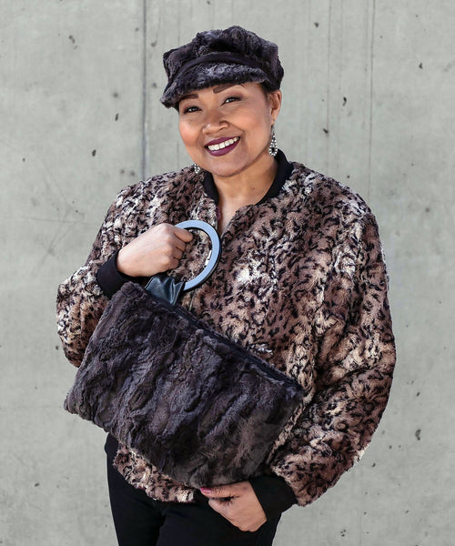 Amelia Bomber Jacket, Reversible less pockets - Luxury Faux Fur in Carpathian Lynx with Cuddly Fur X-Small / Carpathian Lynx / Black Outerwear Pandemonium Millinery