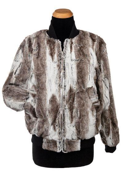 Amelia Bomber Jacket, Reversible less pockets - Luxury Faux Fur in Birch with Cuddly Fur X-Small / Birch / Ivory / White W/Gold Teeth Outerwear Pandemonium Millinery