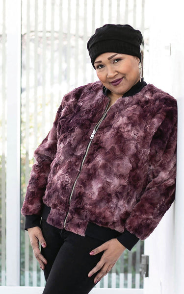 Amelia Bomber Jacket, Reversible less pockets - Luxury Faux Fur in Highland with Cuddly Fur X-Small / Thistle / Black Outerwear Pandemonium Millinery