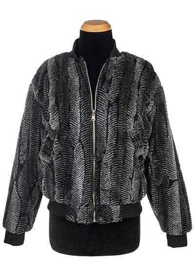 Pandemonium Millinery Amelia Bomber Jacket, Reversible less pockets - Luxury Faux Fur in Nightshade with Cuddly Fur Outerwear