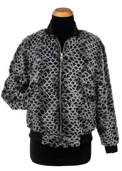 Pandemonium Millinery Amelia Bomber Jacket, Reversible less pockets - Luxury Faux Fur in Snow Owl with Cuddly Fur X-Small / Snow Owl / Black Outerwear