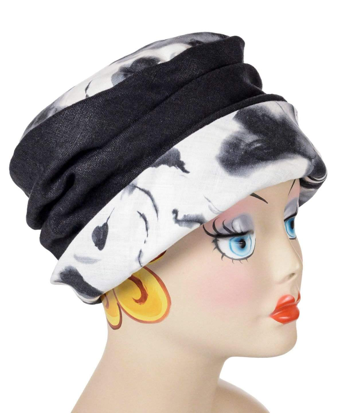 Ana Cloche Hat Style - Black/White Floral with Black Linen