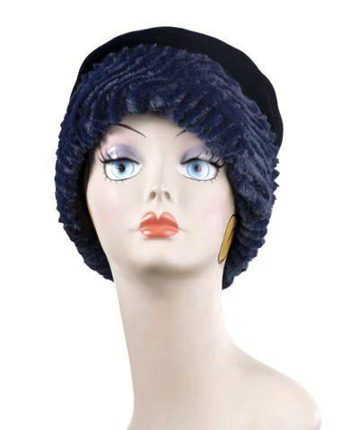 Ana Cloche Hat Style - Chevron Faux Fur in Navy (1 Medium, 1 Large Left)