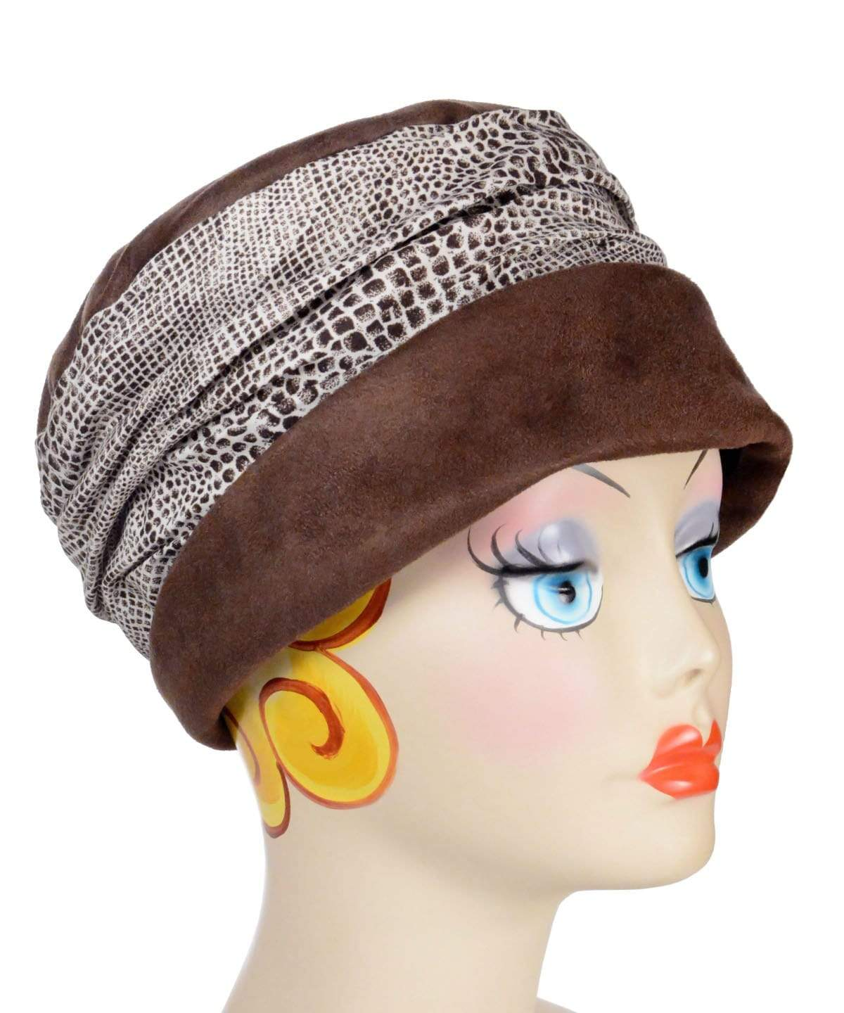Ana Cloche Hat Style - Chocolate Faux Suede