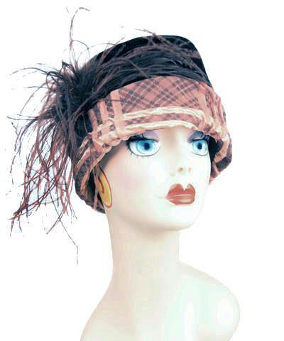 Ana Cloche Hat Style - Copper Plaid Upholstery