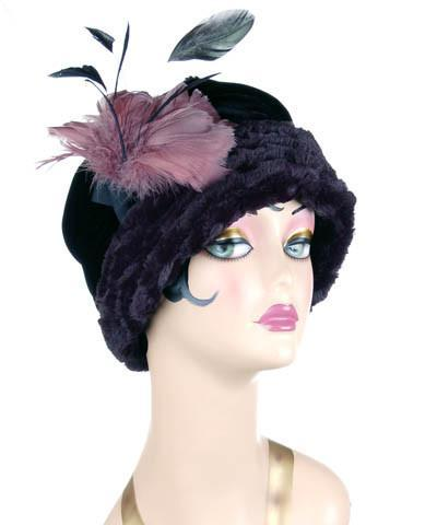 Ana Cloche Hat Style - Desert Sand Faux Fur in Midnight Medium / Hat Only Hats Pandemonium Millinery