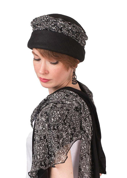Ana Cloche Hat Style - Linen in Black with Black & White Paisley Medium / Hat Only Hats Pandemonium Millinery