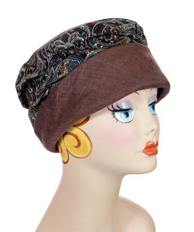 Ana Cloche Hat Style - Linen in Chocolate with Peacock Paisley Medium / Hat Only Hats Pandemonium Millinery