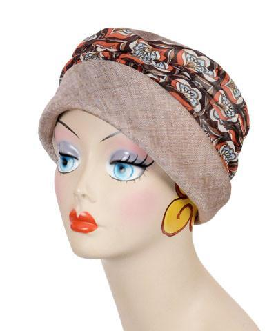 Ana Cloche Hat Style - Linen in Coral with Multi Mod Medium / Hat Only Hats Pandemonium Millinery