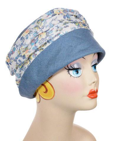 Ana Cloche Hat Style - Linen in Dusty Blue with Victory Garden Medium / Hat Only Hats Pandemonium Millinery