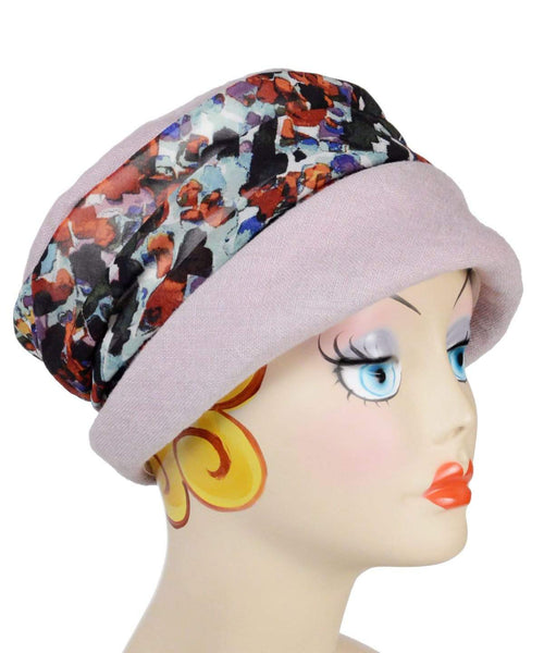 Pandemonium Millinery Ana Cloche Hat Style - Linen in Rose Quartz with Purple Impression Medium / Hat Only Hats