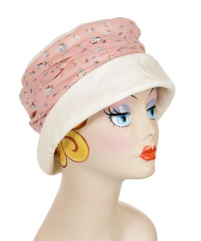 Ana Cloche Hat Style - Linen in Seashell with Rosie Posie Medium / Hat Only Hats Pandemonium Millinery
