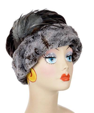Ana Cloche Hat Style - Luxury Faux Fur in Giant's Causeway Medium / Feather Brooch - Natural/Steel Hats Pandemonium Millinery