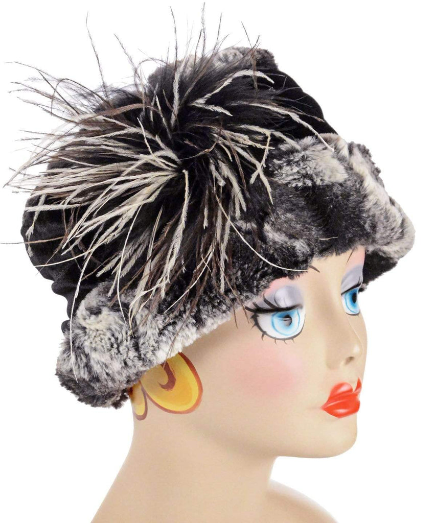 Pandemonium Millinery Ana Cloche Hat Style - Luxury Faux Fur in Honey Badger Medium / Ostrich Feather Brooch - Black/Brown/Cream Hats