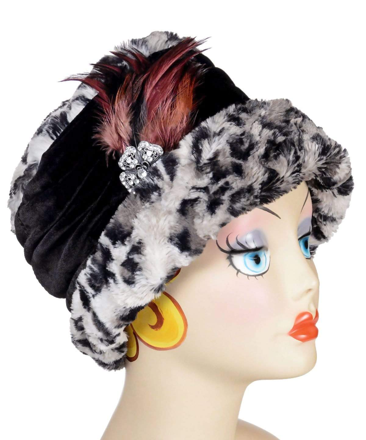 Ana Cloche Hat Style - Luxury Faux Fur Savannah Cat in Gray